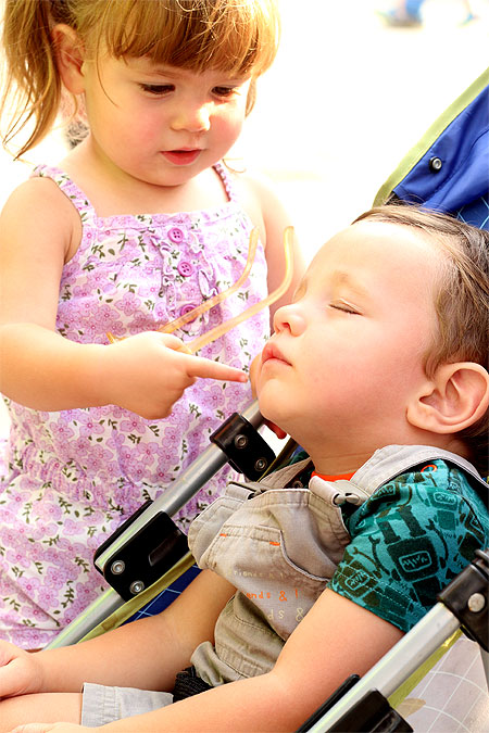 How do you help your toddler adjust to a new sibling? Very carefully.