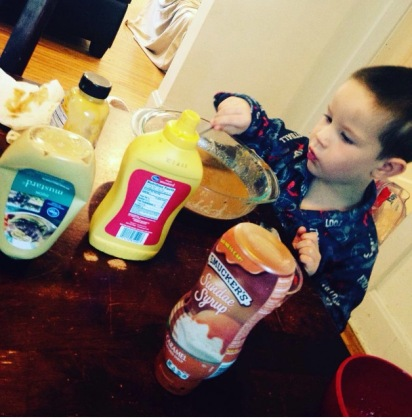 preschooler makes dinner